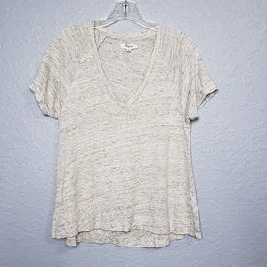 Madewell 100% Linen Deep V-Neck Tee Gray Size S